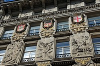 Facade, 1899, of the coffee roastery Julius Meinl, with reliefs from the harvest of coffee up to the consumption in Vienna, with the coat of arms of H...