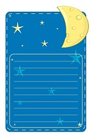 vector label with the stars and the moon on a blue background with lines for text