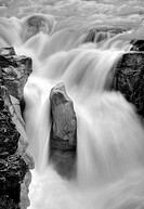 Black and white image, Sunwapta Falls, Sunwapta River, Jasper National Park, Canadian Rockies, Alberta, Canada