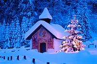 Kapelle Elmau chapel, christmas tree, dusk, Bavaria, Germany, Europe