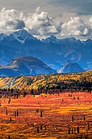 Scenic view of fall colors and the Chugach Mountains from Alascom Road near Sheep Mountain and the Glenn Highway, Southcentral Alaska, Autumn, HDR