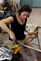 Sophie De Gevigney, glassblower, Voltolina-Murano-Lab factory, art glass factory, Murano, Venice, Venetia, Italy, Europe