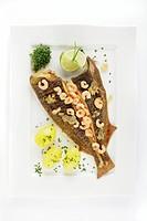 Fresh Plaice (Pleuronectes platessa), Buesum style with shrimps and boiled potatoes