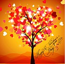 Happy Valentine´s Day Card Vector _ Tree Heart
