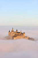 Burg Hohenzollern Castle with fog, autumn, Hechingen, Swabian Alb, Baden_Wuerttemberg, Germany, Europe