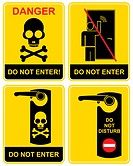 Do not enter, do not disturb, Danger _ a set of prohibition signs. Black and yellow vector icon _ a man knocks on the door, the skull and crossbones. ...
