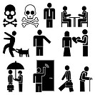 Set of vector pictograms _ people engaged in different occupations. Black & white icons, isolated design elements.