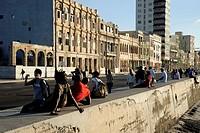 On the Malecon sea wall, Avenida de Antonio Maceo, a boulevard along the city centre of Havana, Centro Habana, Cuba, Greater Antilles, Gulf of Mexico,...