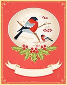 ector bullfinches on branches in winter .New year card holida