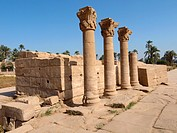 Colonnade. Dendera temple dedicated to Hathor goddess. Upper Egypt