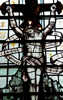 Photo of a stained glass depicting jesus