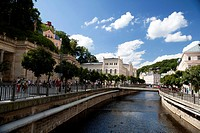 Promenade with view over casino and spa resort hotels, Karlovy Vary, also Karlsbad or Carlsbad, Western Bohemia, Czech Republic, Europe