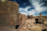 Burial towers called chullpas, of the Aymara people from the Colla culture above Lake Umayo near Puno, conquered by the Incas in the 15th Century and ...