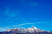 Mountain and blue sky _ large copy space. Mount Ruapehu the highest point in the North Island, Tongariro National Park _ New Zealand.