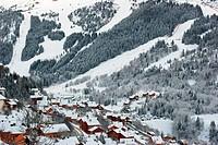Meribel ski resort after snow storm