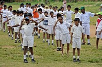 Boys wearing white school uniforms, Galle, Sri Lanka, Ceylon, Asia, PublicGround