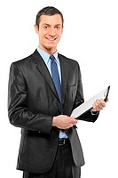 A smiling businessman holding a clipboard isolated on white background