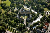 Aerial view, Bueckeburg castle, district of Schaumburg, Lower Saxony, Germany, Europe