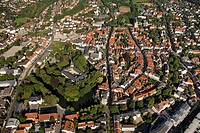 Aerial view of Detmold, Fuerstliches Residenzschloss or Princely Residence castle, Ostwestfalen-Lippe, eastern Westphalia, North Rhine-Westphalia, Ger...