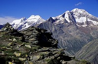 View of the Lagginhorn and Weissmies in Saas valley, Wallis Alps, Switzerland