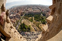 Aerial view, view of Barcelona from the towers of the Sagrada Familia church in Barcelona, Catalonia, Spain, Europe