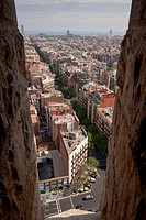 Aerial view from the towers of Sagrada Familia over Barcelona, Catalonia, Spain, Europe