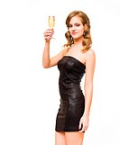 Half length portraif of beautiful young blond with champagne glass, isolated on white background.