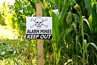 Land mine keep out warning sign