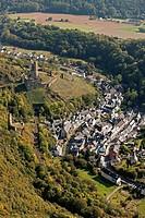 Aerial view, Loewenburg castle ruin, Monreal, Eifel mountain range, Rhineland-Palatinate, Germany, Europe