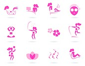 Vector collection of pink spa icons _ pink and white.