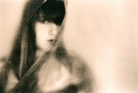 Darkhaired young woman wrapped in shawl, lith print, fine art