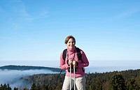 Woman hiking in the Black Forest, Baden-Wuerttemberg, Germany, Europe