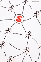 People Sketching Network and dollar sign, concept of business relation