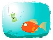 Illustration of a cartoon fish looking at dollar paper