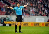 Referee Wolfgang Stark showing foul play, awarding a free kick, Mercedes-Benz Arena, Stuttgart, Baden-Wuerttemberg, Germany, Europe