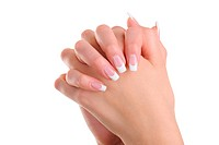Women hands with beauty french manicure _ over white background