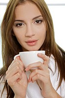 portrait of a beautiful adult sensuality woman drink coffee
