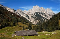 Bindalm, mountain pasture with hut built 1886, Muehlsturzhoerner mountains at back, Hintersee near Ramsau, Upper Bavaria, Bavaria, Germany, Europe