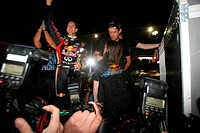 Sebastian Vettel GER, celebrates with the Red Bull Racing Team the his second Formula 1 World Championship, F1, Japanese Grand Prix, Suzuka, Japan