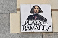Plaza de Ramales, street sign made of tiles, Madrid, Spain, Europe