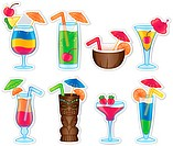 Tropical colorful alcoholic drinks. EPS10 file. Some transparency and gradients used.