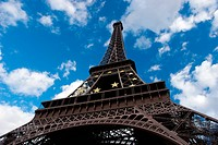 Eiffel tower on background cloud blue sky