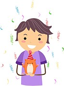 Illustration of a Kid Celebrating the Birthday of His Pet Hamster_ eps8