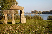 Sculpture park by lake Muendesee, Angermuende, Brandenburg, Germany, Europe