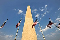 U.S. flags in front of the Washington National Monument, obelisk, Washington DC, District of Columbia, United States of America, PublicGround