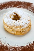 French pastries Paris-Brest named after the cycling race, choux pastry with different fillings, originally with butter cream