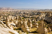 Capadoccia landscape Turkey.The beautiful rock formation an arid landscape of Capadoccia near Goreme is a World Heritage site since 1985