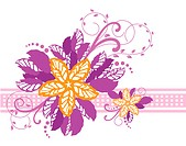 Pink and yellow floral banner. This image is a vector illustration.