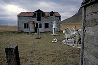 Rural exodus, abandoned farmstead of the artist and farmer Samúel Jónsson, Brautarholt, fjord, or Arnarfjoerður or Arnarfjoerdur, Westfjords, Iceland,...