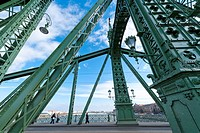 Liberty Bridge, Danube River, Budapest, Hungary, Europe